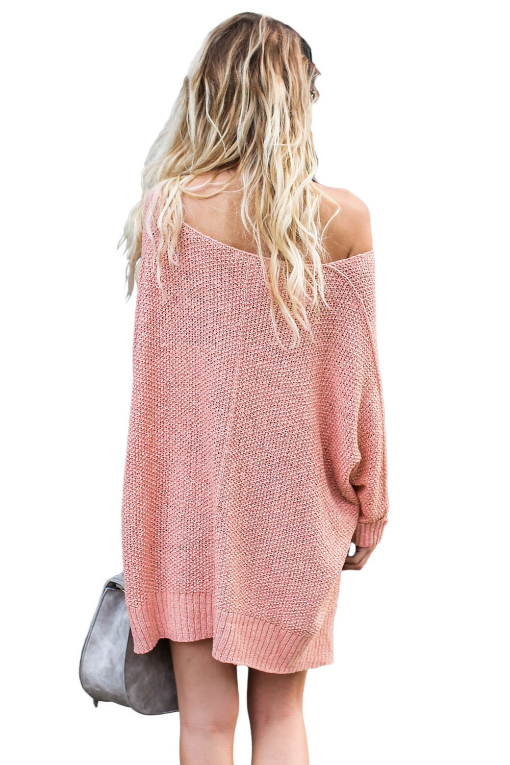 Pink-Oversized-Knit-High-low-Slit-Side-Sweater-LC27680-10-3