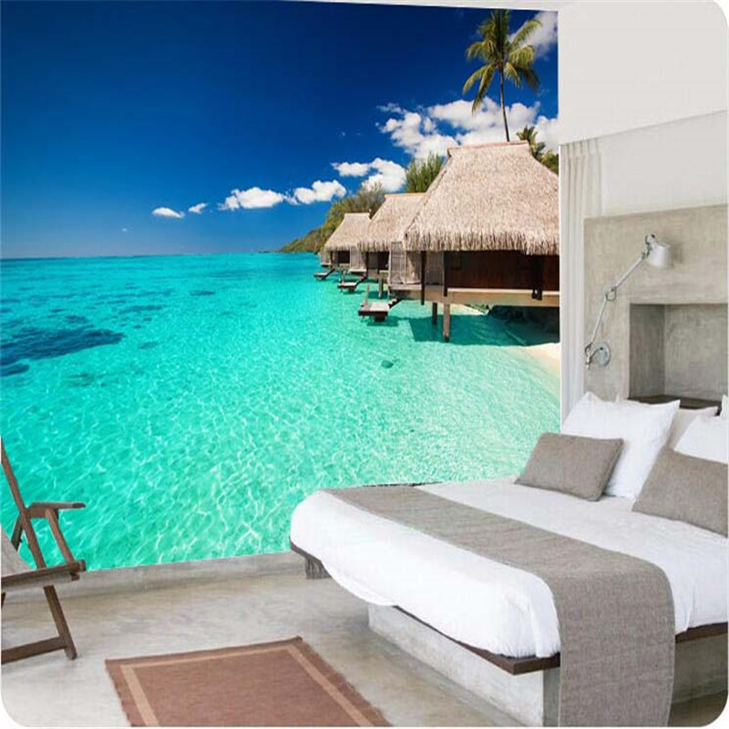 wall paper High quality 3d wallpaper painting Island style thatched palm beach beautiful clear waters large wall mural wallpaper