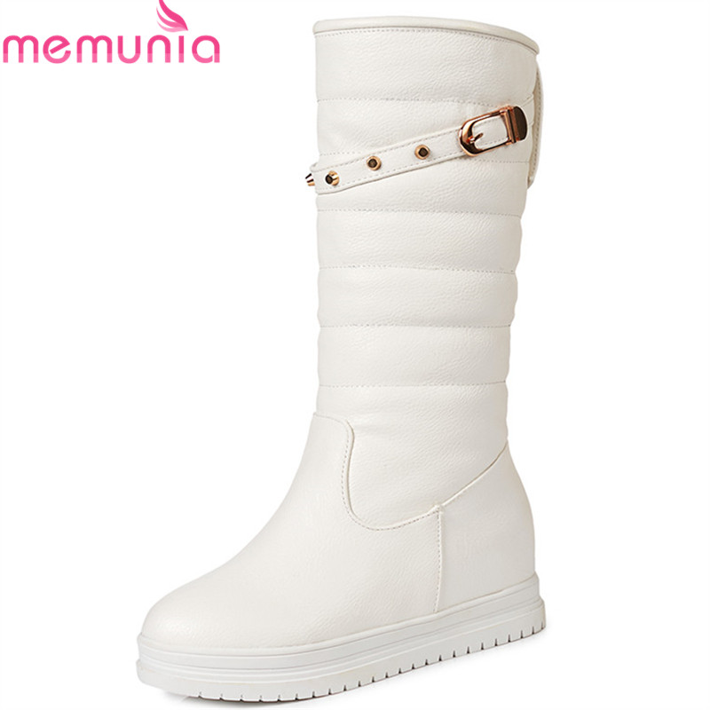 MEMUNIA 2019 hot sale winter snow boots women slip on round toe mid calf boots comfortable platform shoes antiskid waterproof image