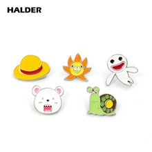 BR0021 HALDER Anime One Piece Luffy Skull Trafalgar Law Bear Ghost Brooches Enamel Lapel pins Clothes backpack Badge Denim Gift 9pcs set anime cartoon one piece luffy skeleton flags badge brooch acrylic badge pins