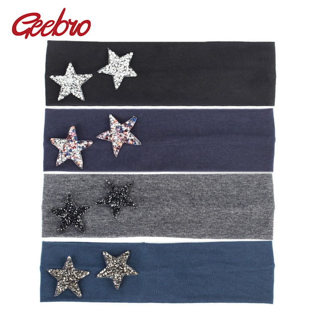 Geebro New Hair Headbands for Girls Summer Fashion Girls Double Stars  Rhinestone Headband Cotton Flat Head Wrap Turban a069563b06f