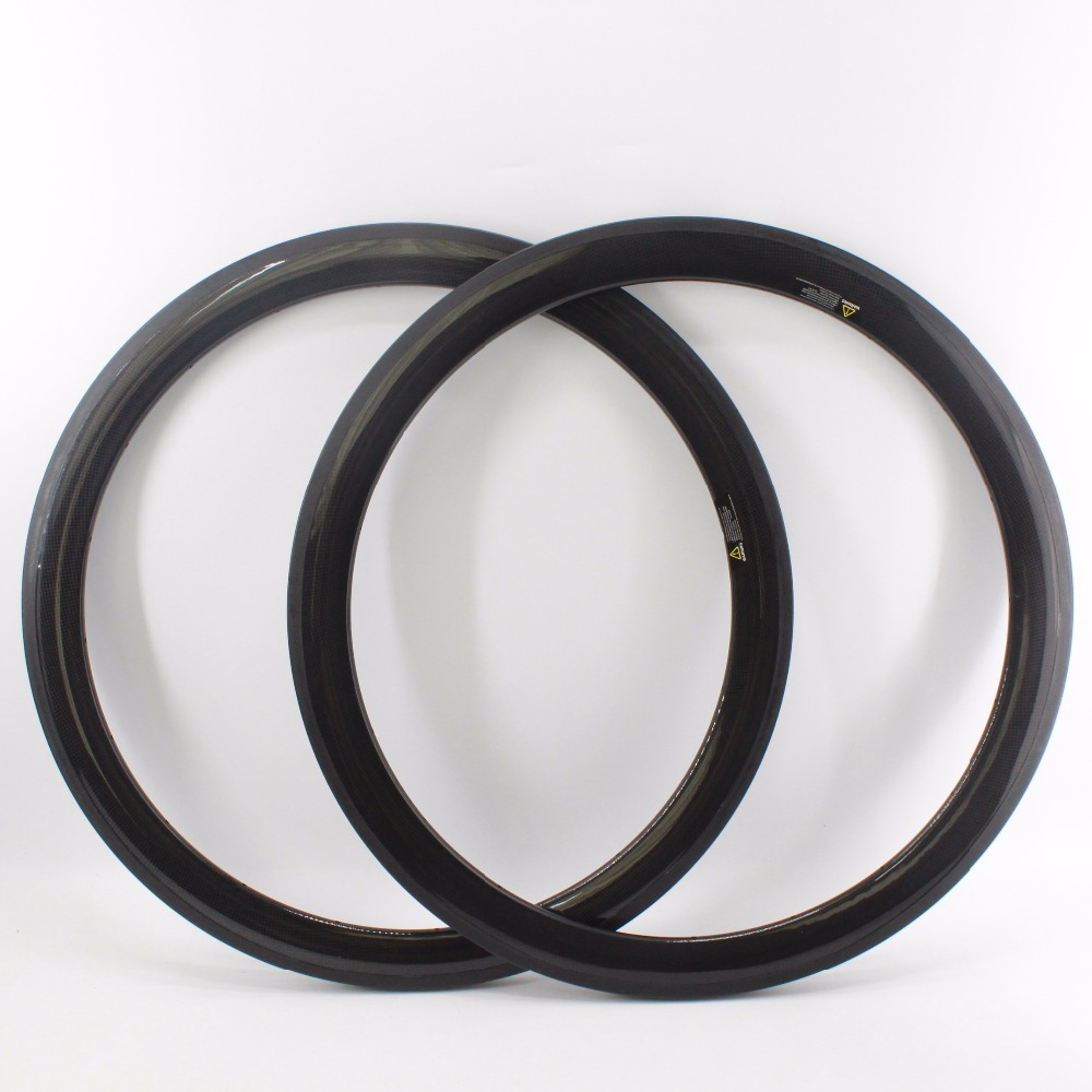 2Pcs New 700C 50mm Racing Road Bicycle 3K Full Carbon Fibre Bike Wheelset Clincher Rims With