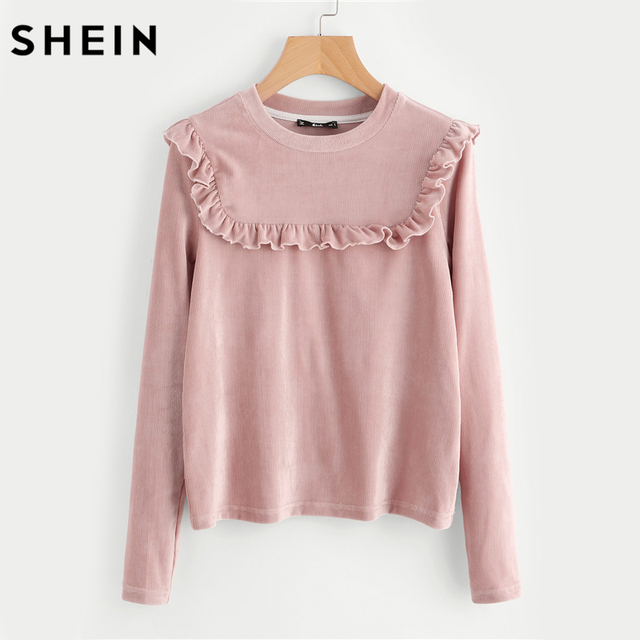 SHEIN Frill Detail Yoke Ribbed Tee Fall Clothing Women 2017 Autumn Pink  Long Sleeve Casual Womens
