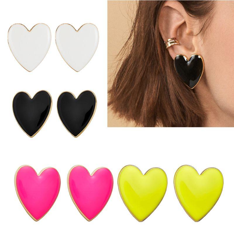1 Pair  4 Colors Fashion Bohemian Enamel Big Love Heart Earrings For Women Jewelry Gift