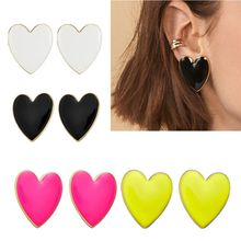 1 Pair  4 Colors Fashion Bohemian Enamel Big Love Heart Earrings For Women Jewelry Gift