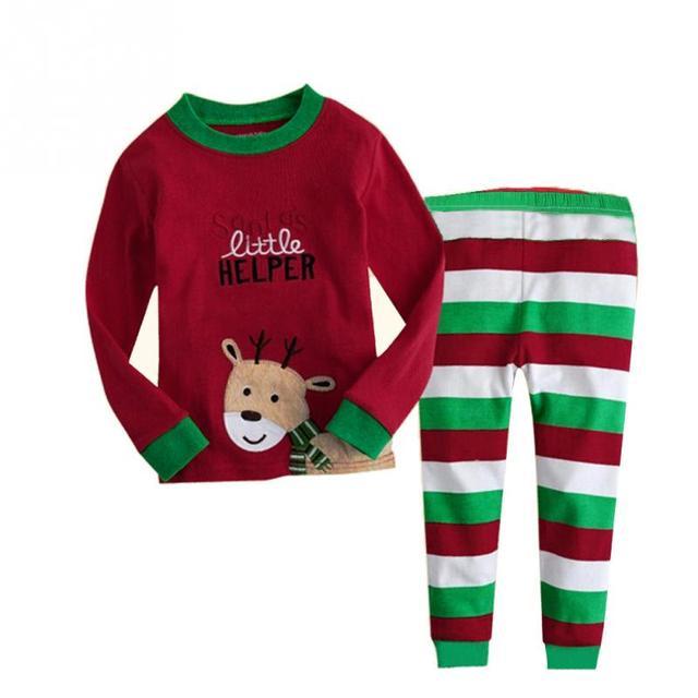 2016 новый горячие рождественский комплект одежды красный мультфильм детей пижамы костюм с длинными рукавами хлопка пижамы 6 - 8 лет