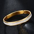 Top Quality Never Fade 316L Stainless Steel Love bangle  gold Plated 2 Rows CZ Stone Bangle For Wedding