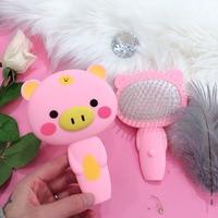 Defence Static Lovely Girl Heart Cartoon Piggy Air Cushion Gasbag Massage Portable Makeup Straight Hair Comb