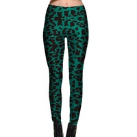 Europe Green Leopard Slim Sexy Leggings Trousers Yoga Fitness Elastic Tights Girls New Digital Print Nine