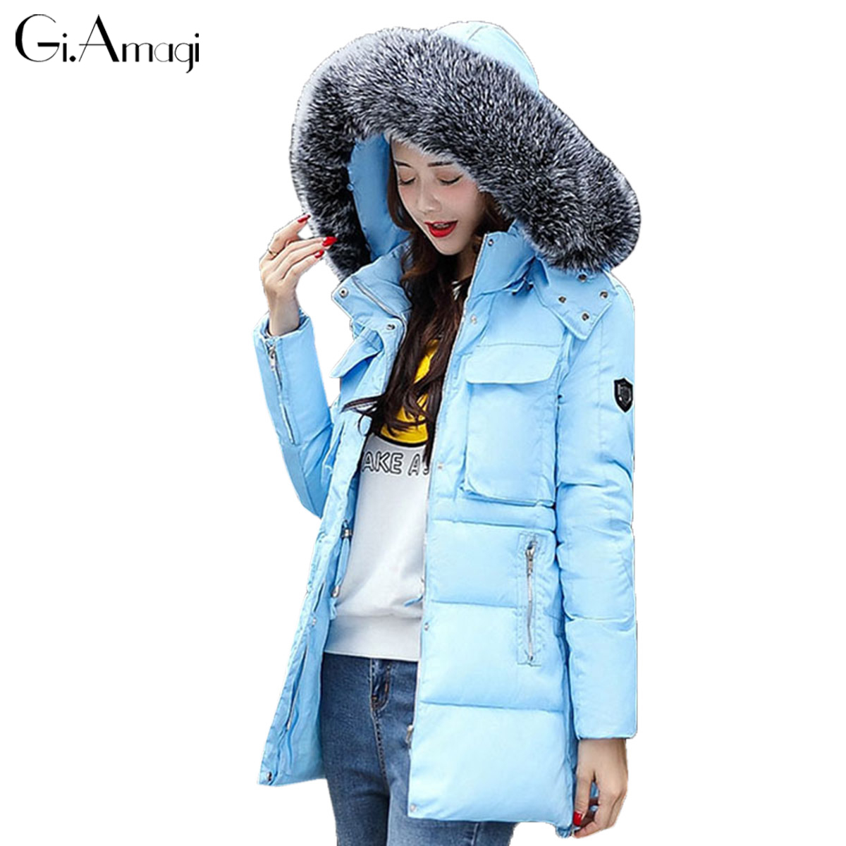 2017 New Fake Raccoon Fur Collar Parka Down Cotton Jacket Winter Jacket Women Thick Snow Wear Coat Lady Clothing Female Jackets 2017 winter new clothes to overcome the coat of women in the long reed rabbit hair fur fur coat fox raccoon fur collar