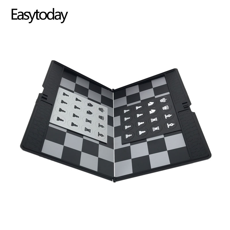 Easytoday Mini Chess Games Set Plastic Board Portable Magnetic Folding Pieces Pocket Entertainment