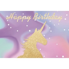 Laeacco Unicorn Happy Birthday Dreamlike Baby Shower Cartoon Scene Photographic Background Photography Backdrop For Photo Studio