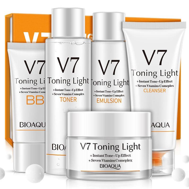 BIOAQUA V7 Nourishing No Makeup Whitening Set Skin Care Anti-aging Moisturizing Cleanser, Toner, Lotion, Cream, BB Cream тональный крем the saem porcelain skin bb cream spf30 ра 02