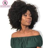 Afro Rizado Rizado Peluca Delantera Del Cordón Con El Pelo Del Bebé Virginal Brasileño corto Pelucas de Pelo Humano Para Las Mujeres Negras Pre Arrancado de la Reina Rosa