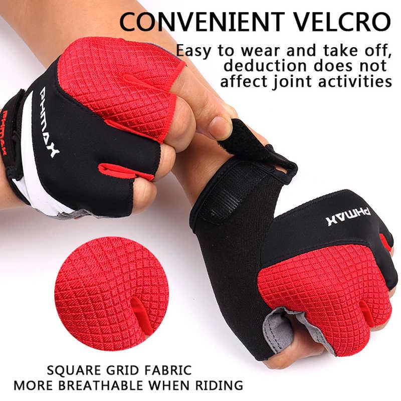 PHMAX 液状シリコーンサイクリング手袋半指メンズ女性の夏のスポーツ耐衝撃バイクグローブオートバイ MTB 自転車手袋