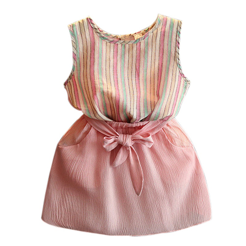 2 pcs Kids Girls Sets 2017 Summer Clothes Baby Girls Clothes Striped T Shirt & skirt Children Toddler Girl Clothing 2-7 Years j2
