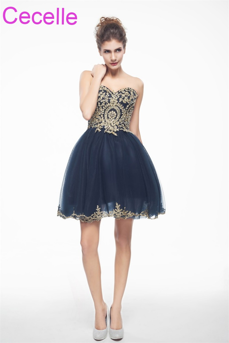Navy Blue With Gold Cute Short Cocktail Dresses 2018 Sweetheart ...