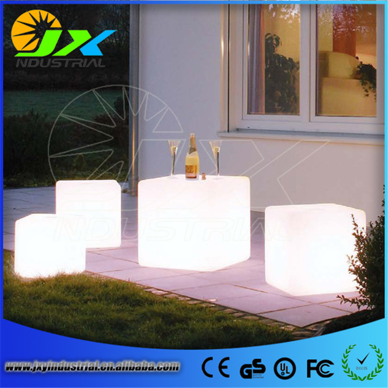 led cube chair/ 30*30*30cm Plastic LED Cube Bar Stool Color Changing Luminous Chair For Home Wedding Ceremony Party