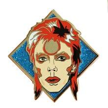 David Bowie inspiriert abzeichen nette glitter pin ziggy stardust Sane kunst brosche musik fans sammlung