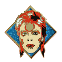 David bowie inspirado emblema bonito glitter pino ziggy stardust sane arte broche fãs de música coleção