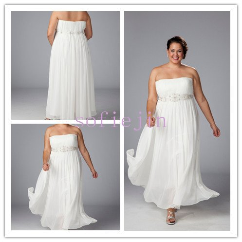 elegant chiffon ankle length casual beach wedding dresses 2012 plus ...