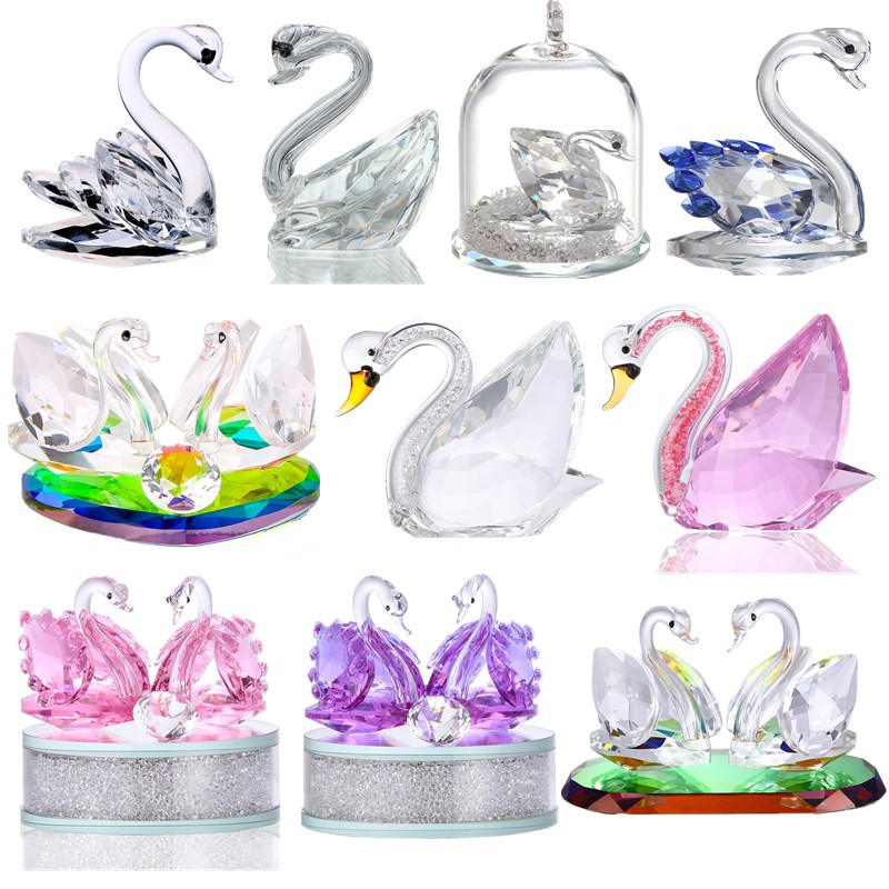H&D 14 Styles Souvenir Xmas Gift Crystal Swan Figurines Collection Paperweight Home Table Centerpiece Ornament Wedding Favors|Figurines & Miniatures| |  - title=