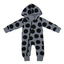 Autumn Winter Newborn Romper Infant Baby Boys Girls Clothes Polka Dots Long Sleeve Zipper Hooded Romper