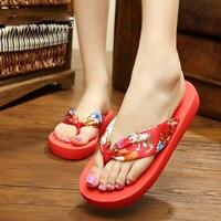 New Hot Sale 10 Color Brand Design Women Summer Ethnic Style Sandals Big Flower Flip Flops