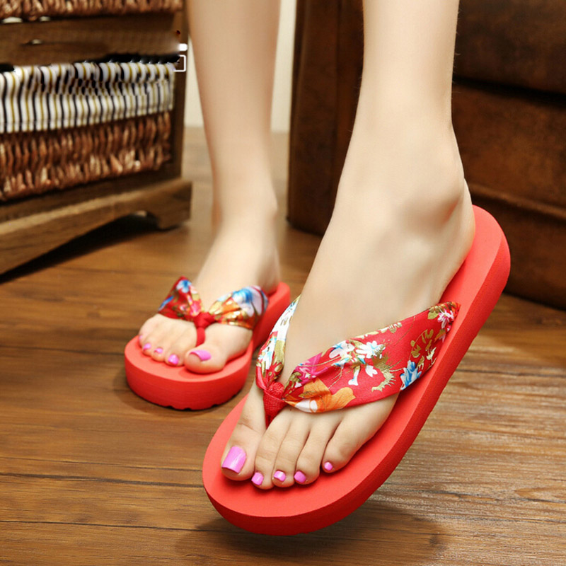 New Hot sale 10 color brand design Women Summer Ethnic style sandals Big Flower flip flops lady flat shoes free shipping hot sale free shipping 2015 new men s summer sandals