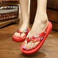 Nova venda Quente 10 cores de design da marca Mulheres Verão Étnica estilo sandálias Grande Flor flip flops senhora sapatos baixos livre grátis
