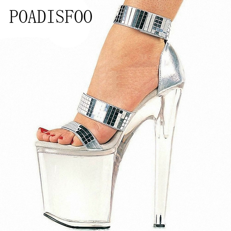 POADISFOO 20cm crystal shoes silver sandals dress banquet wedding shoes thick bottom stiletto stiletto shoes women LYP-E-044