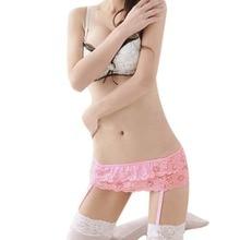 WEIXINBUY Women 4 Colors Sexy Thongs Lace Stocking Suspender Lingeries Dual Layer Garter Belts KJ2