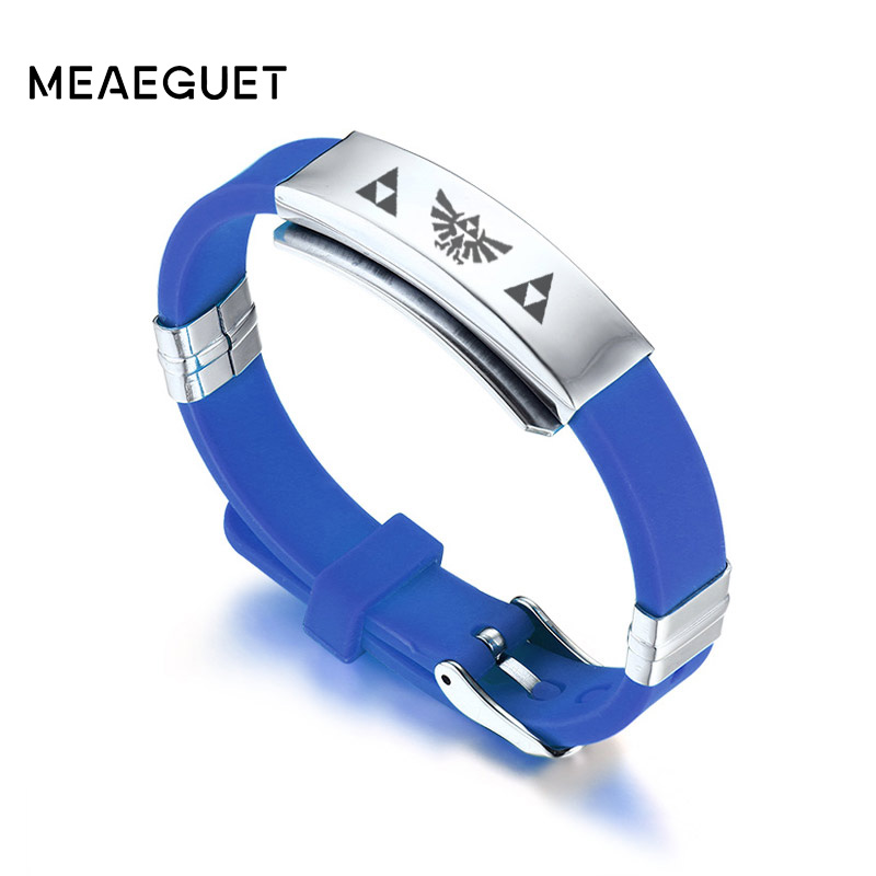 Meaeguet The Legend of Zelda Bracelet Men Black Adjustable Rubber Silicone Charm Watchbands Stainless Steel Bracelets