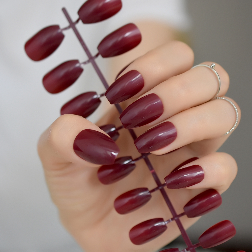 Candy Dark Wine Red Coffin False Nails Ballerina Confins Chestnut Maroon Color Full Cover Fake Nail Flat Shape Fuax Ongles