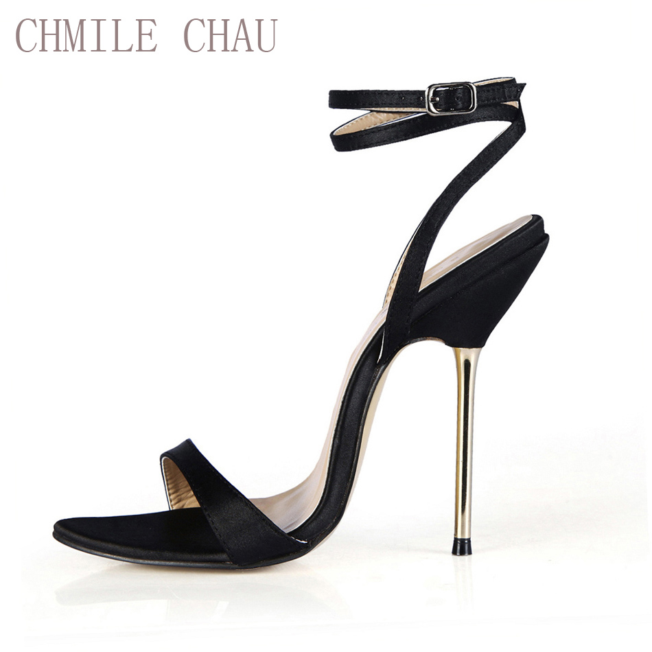 CHMILE CHAU Satin Sexy Party Shoes Women Stiletto Iron Tacones altos Correa del tobillo Señora Sandalias Tallas grandes 10.5 Zapatos Mujer 3845-i3