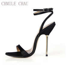 CHMILE CHAU Satin Sexy Party Shoes Women Stiletto Iron High Heels Ankle Strap Lady Sandals Plus Sizes 10.5 Zapatos Mujer 3845-i3
