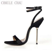 купить New Women Sandals Sexy CD Big Sizes High Heels Sattin Ankle Strap Buckle Open Toe Thin Iron Heel Party Lady Heeled Shoes 3845-i3 по цене 1348.22 рублей