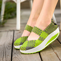 Slimming Women Shoes 2016 Summer Casual Shoes Women Wedges Swing Shoes  Hand Made Weave Breathable Mesh Single Shoes Zapatillas