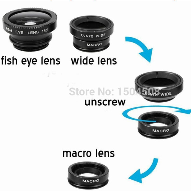 3-in-1 Wide Angle Macro Fisheye Lens Kit  Mobile Phone Fish Eye Lenses with Clip 0.67x for iPhone For Samsung All Phone