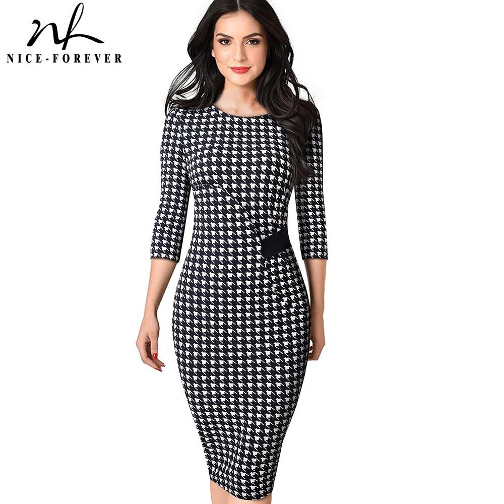 Nice-forever Elegant Vintage Houndstooth Patchwork Vestidos Business Bodycon Women Office Work Dress B543
