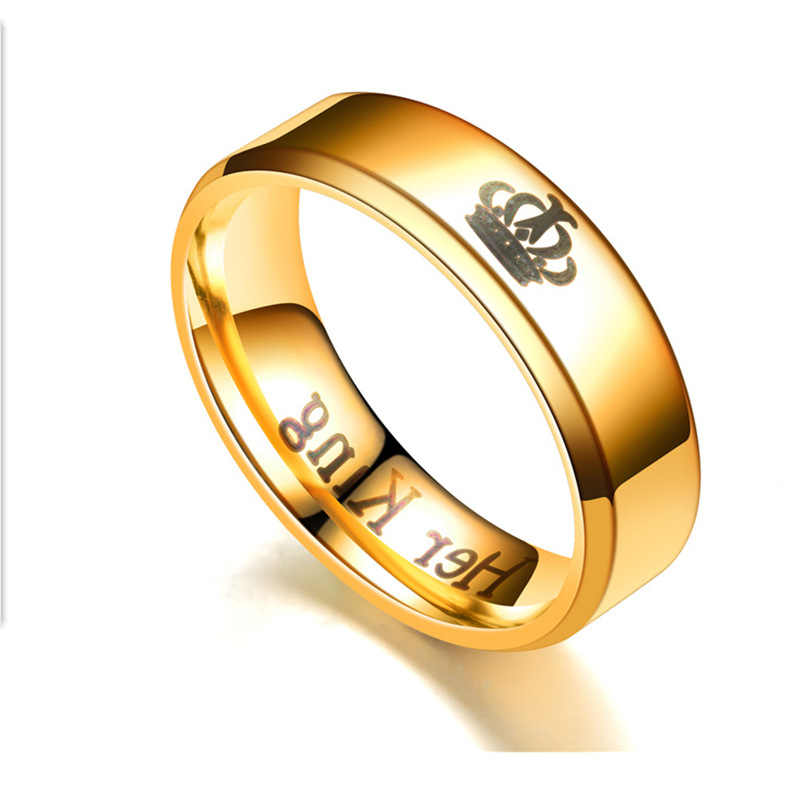 2019 nuevos anillos de acero inoxidable a la moda su rey y su reina anillos de boda para mujeres y hombres