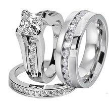 His y Her 316L Acero inoxidable corte princesa conjuntos de anillos de boda y eternidad circón cúbico de boda hombres y mujeres anillo de compromiso