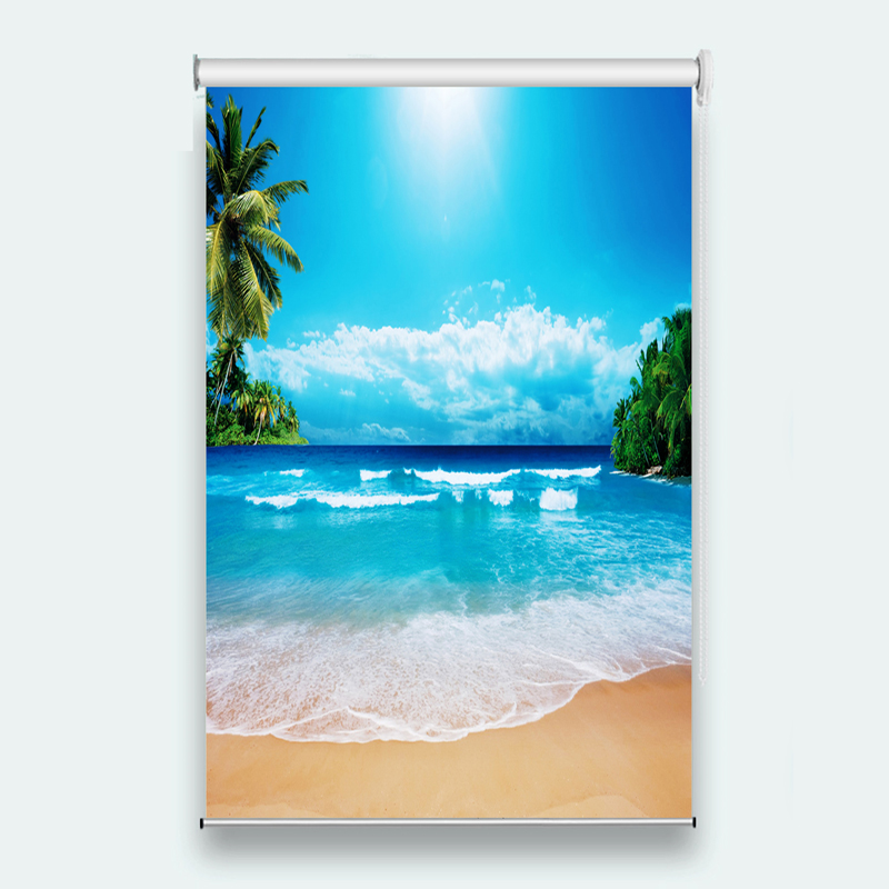 Cool Beach Scenery Curtains 3D Roller Blinds For Window Living Room Bedroom Roller Curtains Shade/Blackout Blinds Drapes