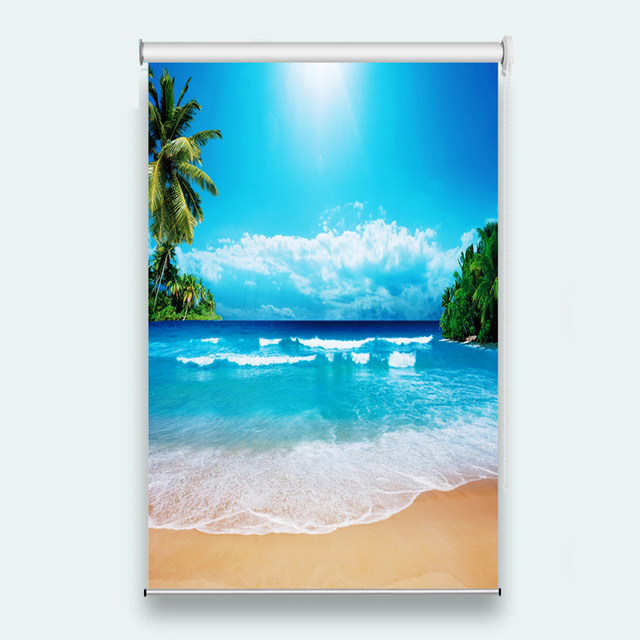 Cool Beach Scenery Curtains 3d Roller Blinds For Window Living Room