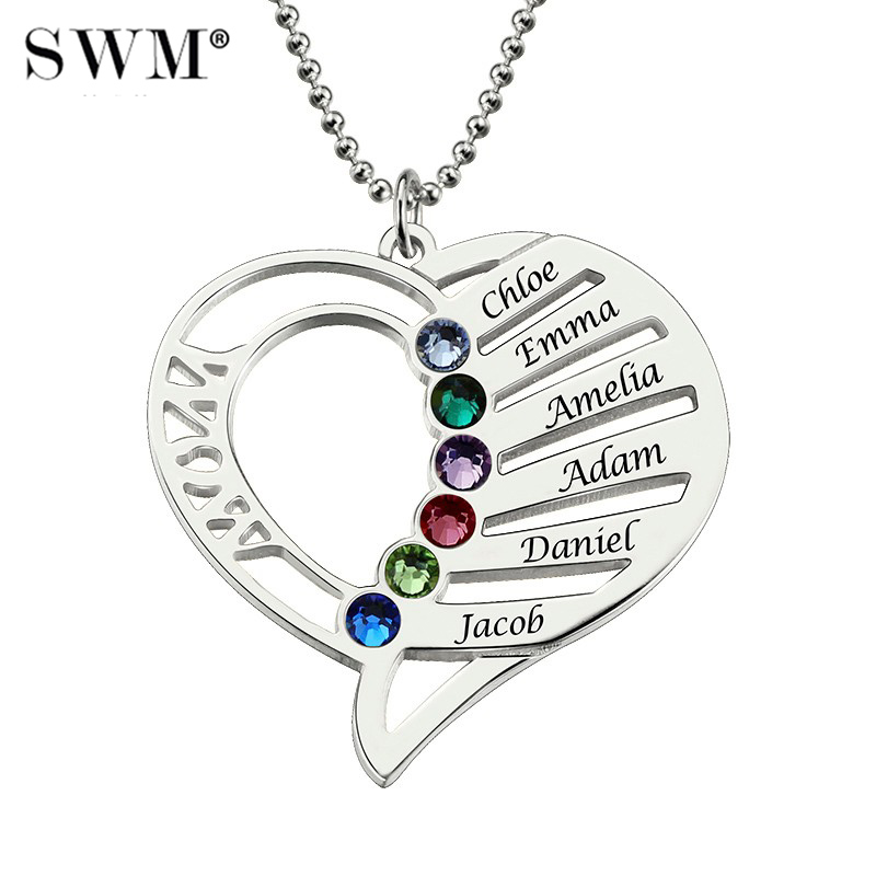 Women Silver Necklaces Custom Name Engraving Necklace Love Heart Collar Birthstone Chain Jewelery Christmas Day Gift