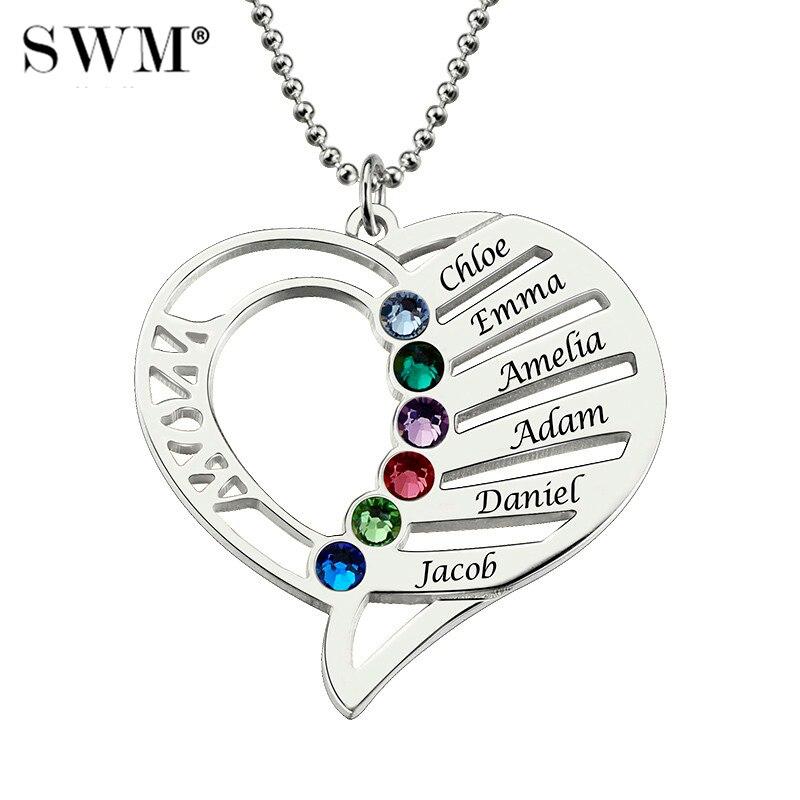 Femmes argent colliers personnalisé nom gravure collier amour coeur collier pierre de naissance chaîne bijoux noël jour cadeau pour maman