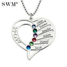 c7bac777ba53 Las mujeres collares de plata nombre personalizado grabado Collar de corazón  de amor Collar de piedra de joyería de día de Navid.