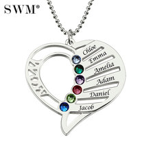 Women Silver Necklaces Custom Name Engraving Necklace Love Heart Collar  Birthstone Chain Jewelery Christmas Day Gift for Mom 48684f230147