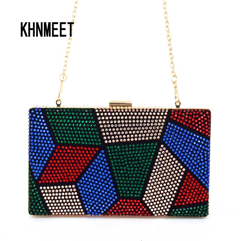 Multi color Purse Crystal mini wedding party clutch evening bag handbag Wristlets women's shoulder bag with Chain Clutch Bag 817 striped fashion design lingge pu leather mini party clutch bag ladies evening bag chain purse mini shoulder bag handbag flap