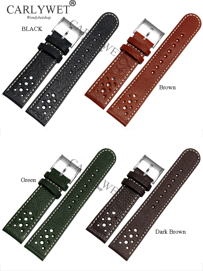CARLYWET 20 22mm Wholesale Handmade Leather Brown Black Green VINTAGE Replacement Wrist Watch Band Strap Belt for Brand Watch handmade 22mm 22mm vintage brown black ostrich skin leather strap retro watchband for kelpy pilot watch